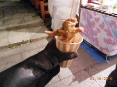 Eating chicken